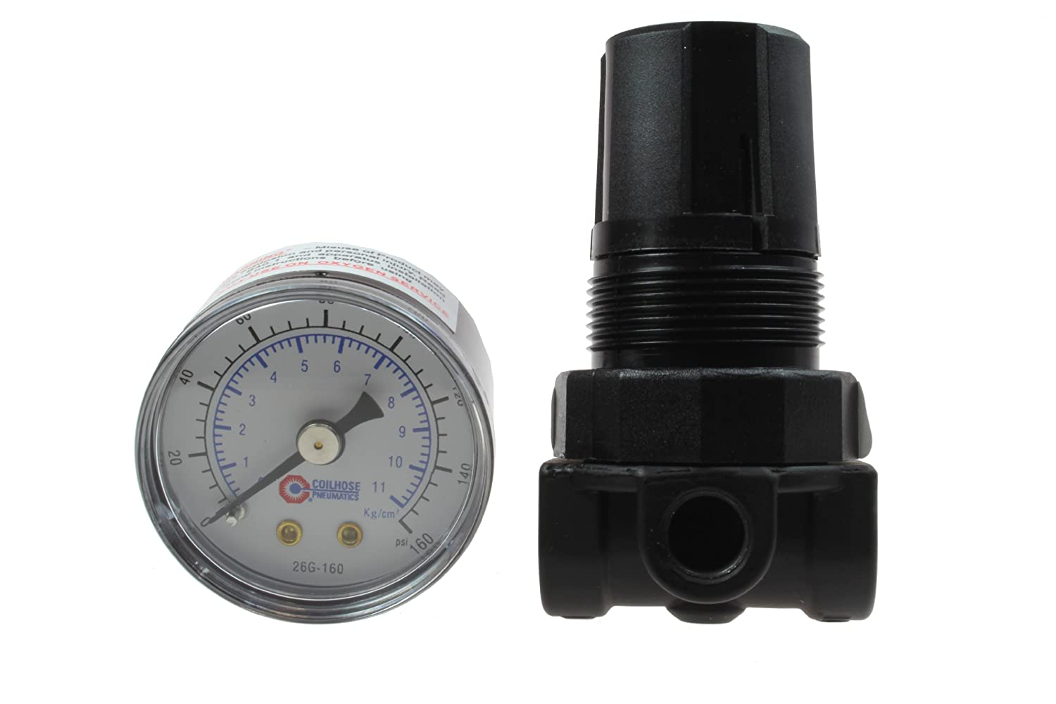 1//4-Inch Pipe Size Coilhose Pneumatics MR2-GL Miniature Series Regulator with Gauge and Low Pressure Spring
