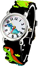 Tonnier 3D Kids Watches Healthy Material Black Rubber Band Children Watches Dinosaur