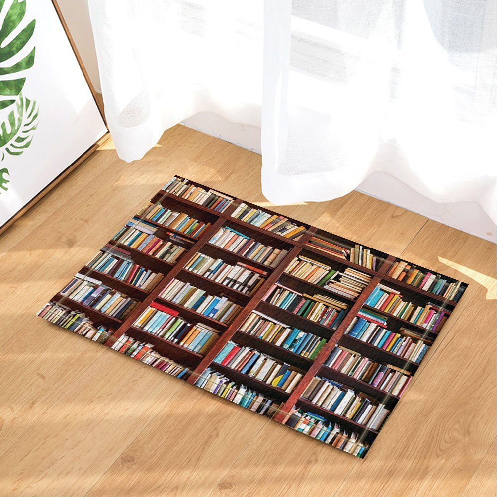 Amazon.com & Library Decor Old Bookshelf with Hundreds of Books Bath Rugs Non-Slip Doormat Floor Entryways Indoor Front Door Mat Kids Bath Mat 15.7x23.6in Bathroom ...
