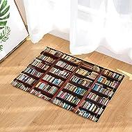 Library Decor Old Bookshelf with Hundreds of Books Bath Rugs Non-Slip Doormat Floor Entryways Indoor Front Door Mat Kids Bath Mat 15.7x23.6in Bathroom Accessories