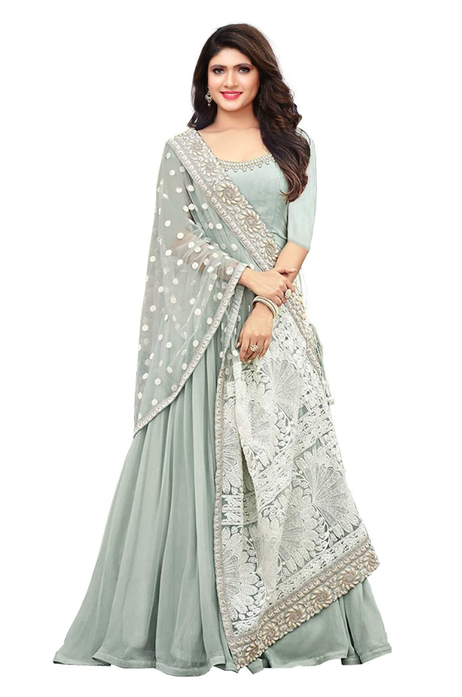 STELLACOUTURE Embroidered Salwar Suit Ethnic wear Indian Pakistani Anarkali Salwar Kameez Maisha (Sky Blue, XS-36)