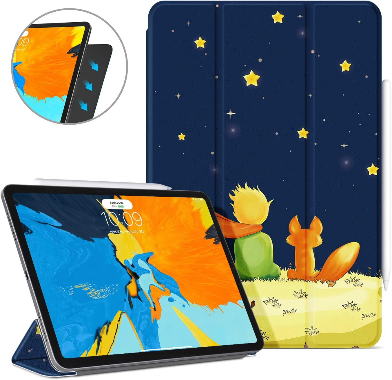 Ayotu Case for iPad Pro 12.9'' 2018(Old Model)-[Support Apple Pencil charging] Strong Magnetic Cover,Slim Tri-fold Stand Case with Auto Wake/Sleep for iPad Pro 12.9 Inch 2018 (3rd Gen),The Boy and Fox