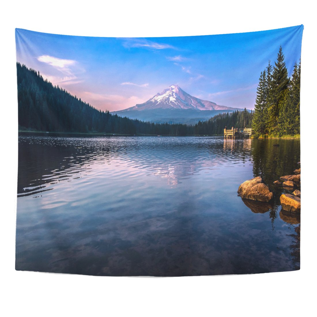Emvency Tapestry Blue Trillium Mountain Reflections from The Lake America Beautiful Home Decor Wall Hanging for Living Room Bedroom Dorm 50x60 Inches by Emvency (Image #1)