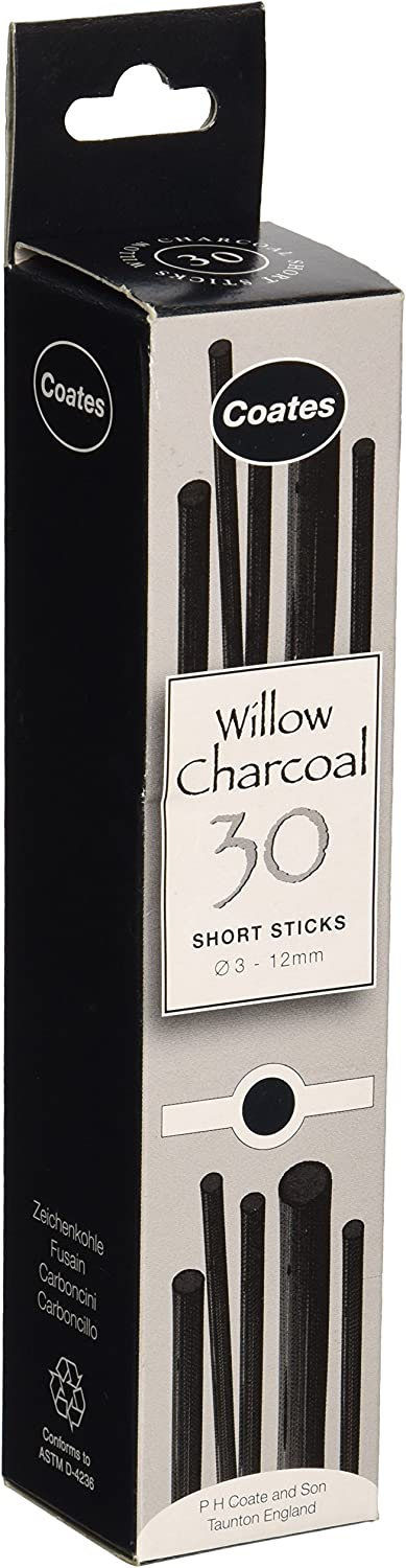 Speedball PH Coate Artist Willow Charcoal Assorted Lengths 30 Sticks, Black