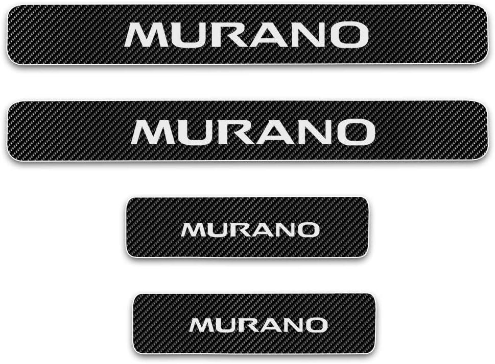 for Nissan Murano March Navara X-Trail Tiida Car Door Sill Sticker Carbon Fibre Reflective Sticker Car Door Sill Decoration Scuff Plate Sticker Set Scratch Protector 4Pcs Red