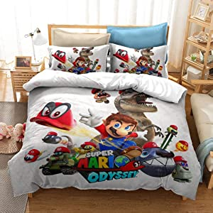 CJYVV Kids Comforter Cover Super Mario Bros Duvet Cover Set Cartoon Game Japan Cartoon Bedding Sets for Boys Teens Surprise Full Size (Size : AU Queen 210x210cm)
