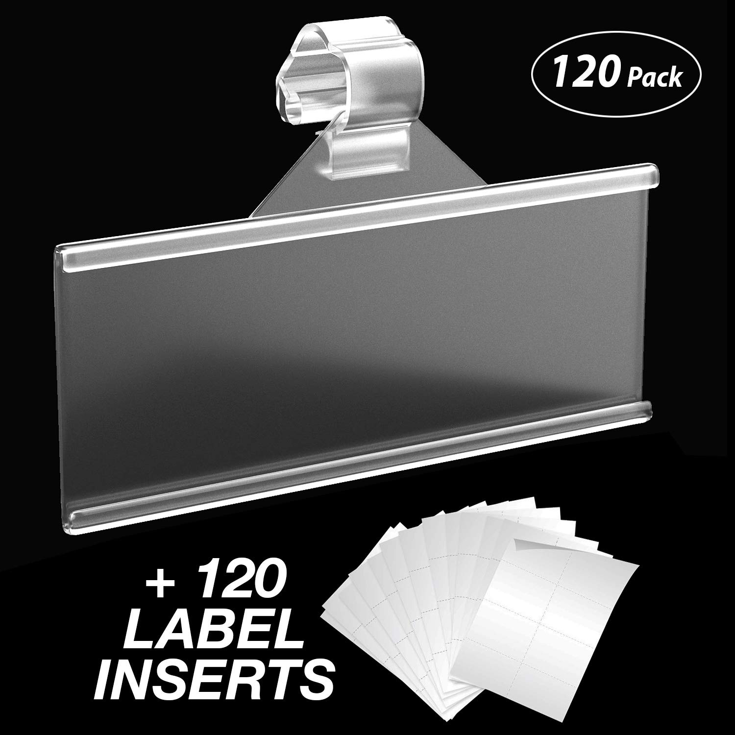 Label Holder 120 Count | Easy Clip Plastic Wire Shelf Labels | Strong Snap Lock Wire Shelving Shelf Lock Clips | Includes 120 Price Labels Ready for Print