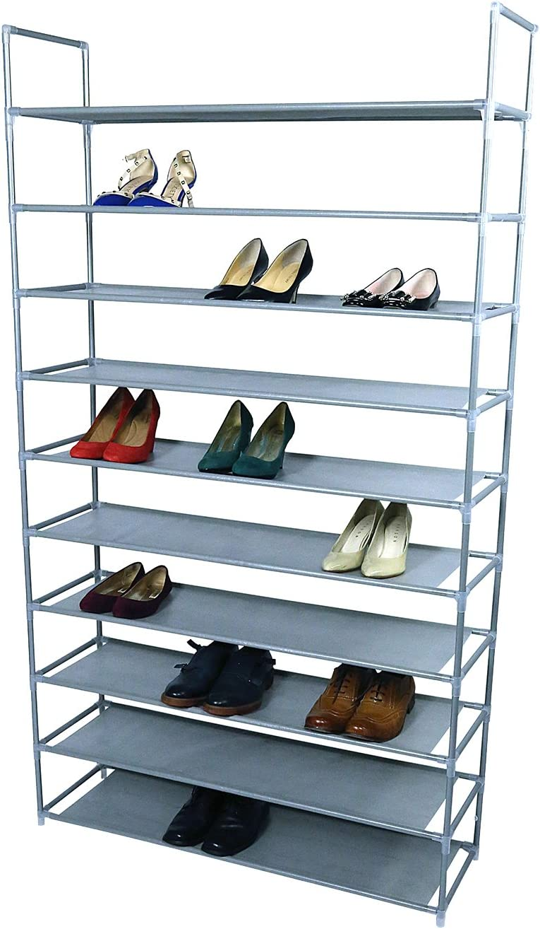 SmartHome 10 Tiers Shoe Rack 50 Pairs Non-Woven Fabric Shoe Tower Storage Organizer Cabinet Grey …