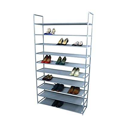 SmartHome 10 Tiers Shoe Rack 50 Pairs Non Woven Fabric Shoe Tower Storage  Organizer Cabinet