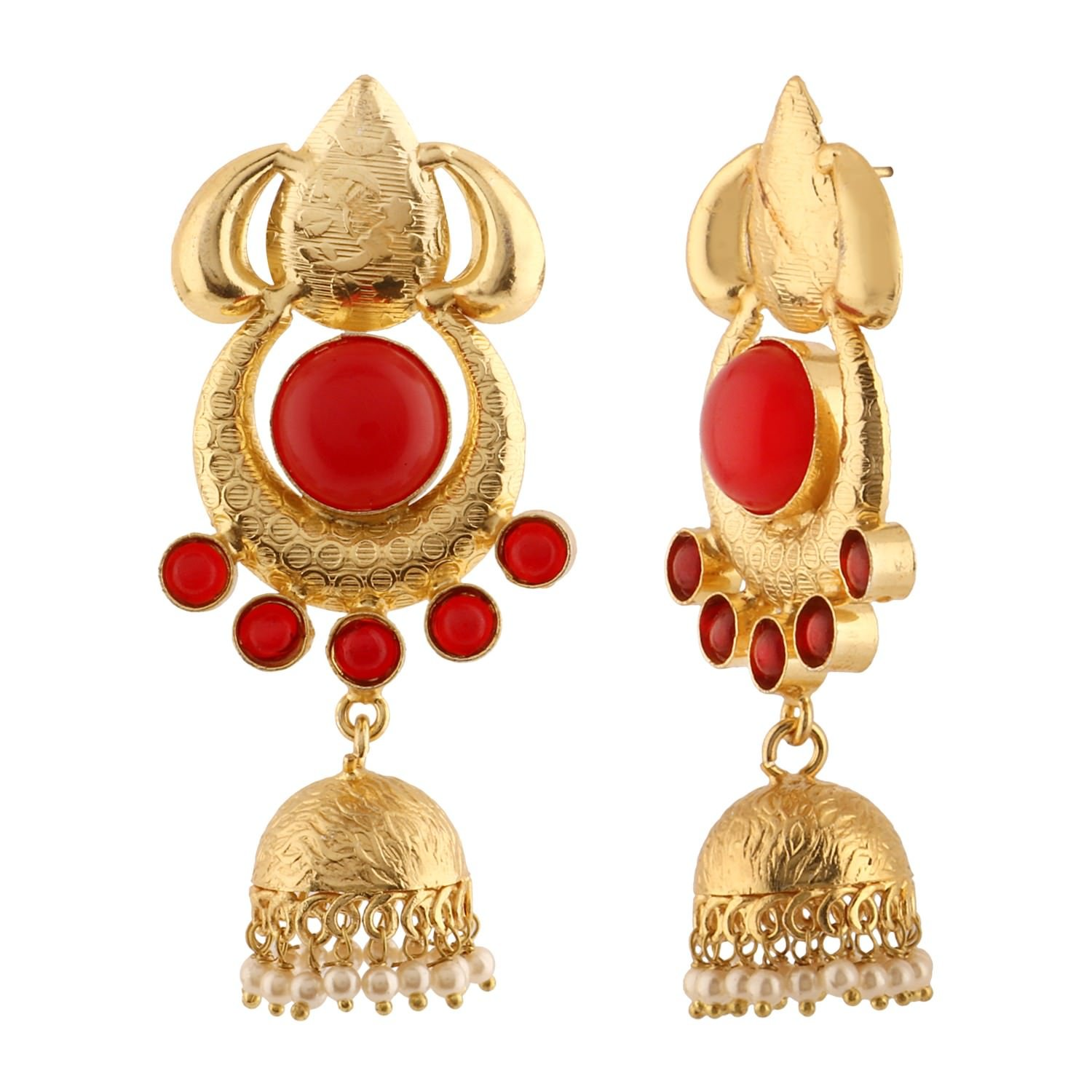 b98faf5c1 Amazon.com: Efulgenz Indian Bollywood 14K Gold Plated Turquoise Crystal  Pearl Half Moon Inspired Jhumka Jhumki Earrings Jewelry Set: Jewelry