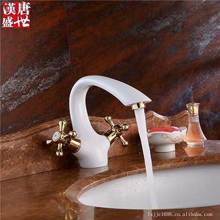 RYL bathroom taps/Bathroom Sink Taps Grilled white porcelain ...