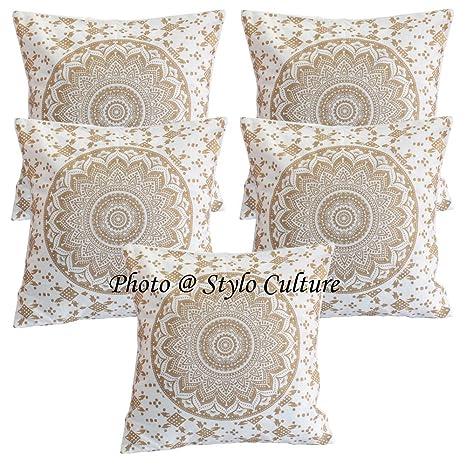 Stylo Culture Indian Throw Pillows for Beds Oro Impreso Floral Acento Almohada Fundas de cojín Algodón Cuadrado Tradicional Mandala Ombre 40x40 cm ...