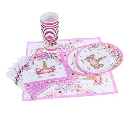 Besto nzon 40 unidades Unicornio vergoldung desechables partei ofrece mesa Juego de vaso (10 unidades