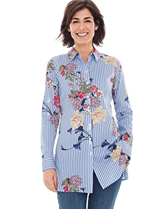 7c96791d49 Chico s Women s No-Iron Cotton Floral Striped Shirt Blue at Amazon Women s  Clothing store