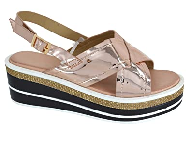 f1ca5ec1efcb EYESONTOES Womens Ladies Platform Flat Diamante Strappy Low Heel Summer  Sandals Shoes SZ