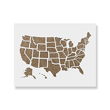 United States Map Outline Stencil Template - Reusable Stencil with Multiple  Sizes Available