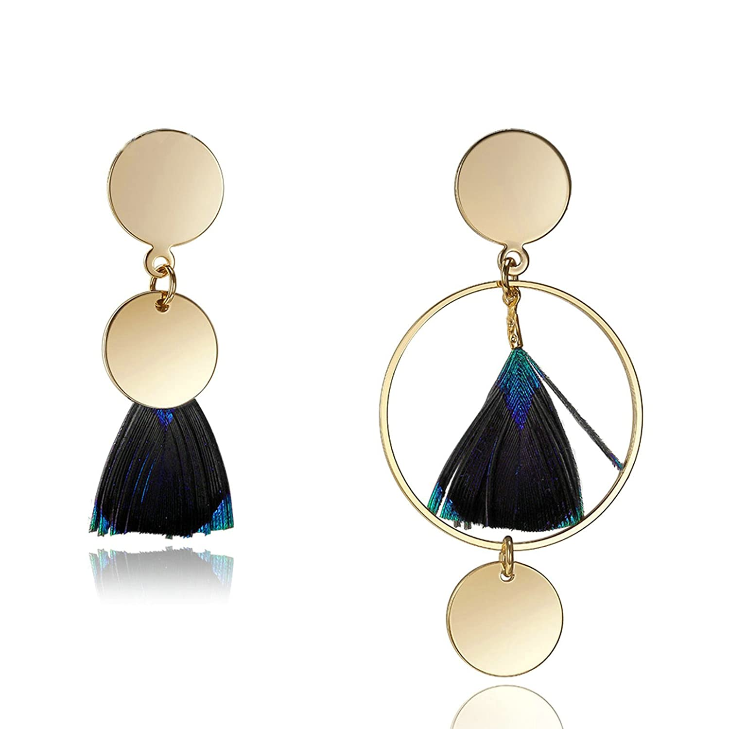 Adisaer 18k Gold Plated Dangle Earrings Daily Wear for Girls Gold Round Dangle Feathers