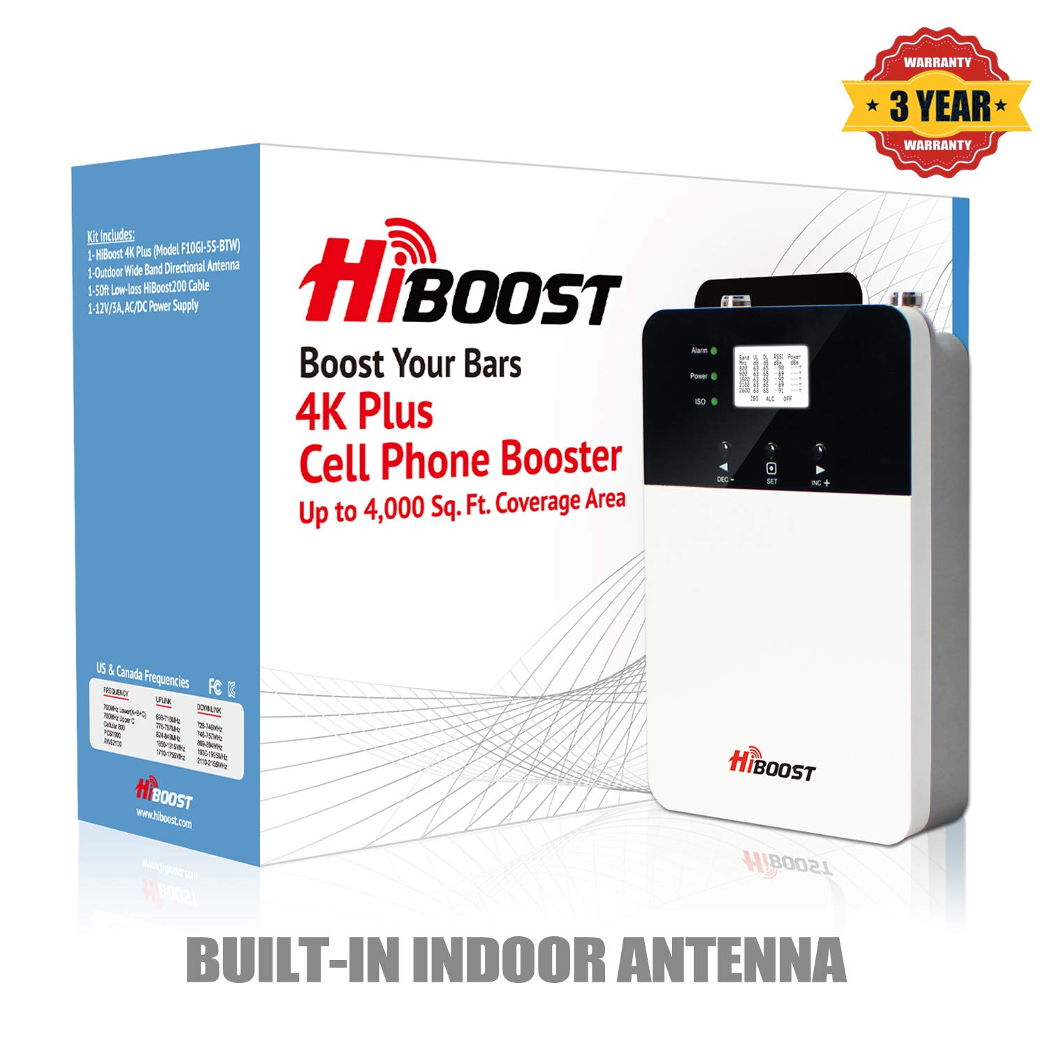 AT/&T HiBoost Signal Amplifier Cell Phone Signal for Home and Office up to 4,000 Sq.Ft,Mobile Signal Booster Repeater for Verizon T-Mobile 2G//3G//4G LTE-4K Plus Sprint Cell Phone Signal Booster