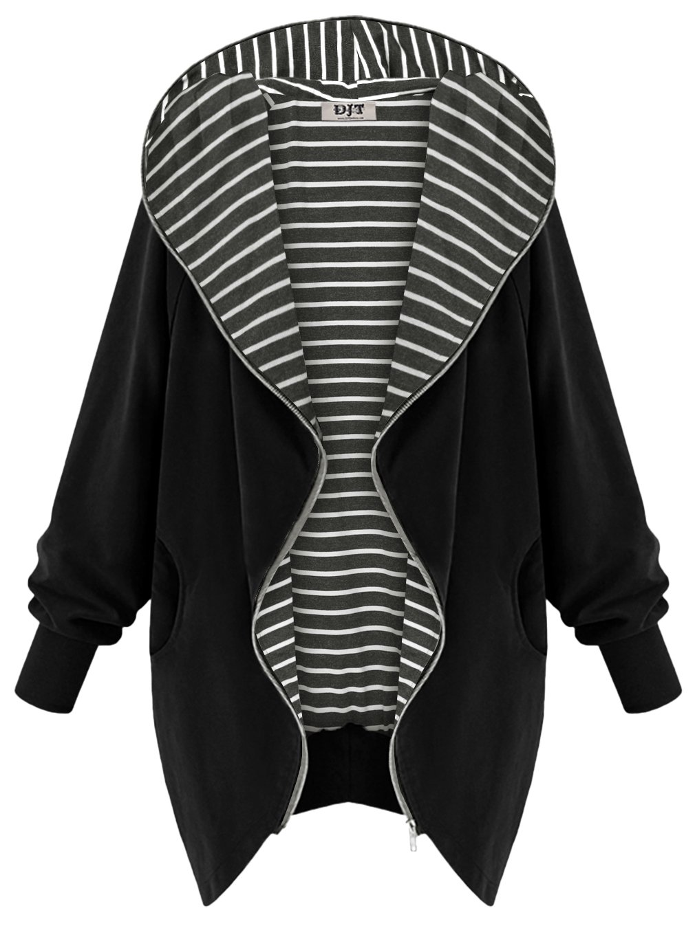 DJT Women's Hooded Zip-up Lightweight Coat Jacket Small Black-Stripe
