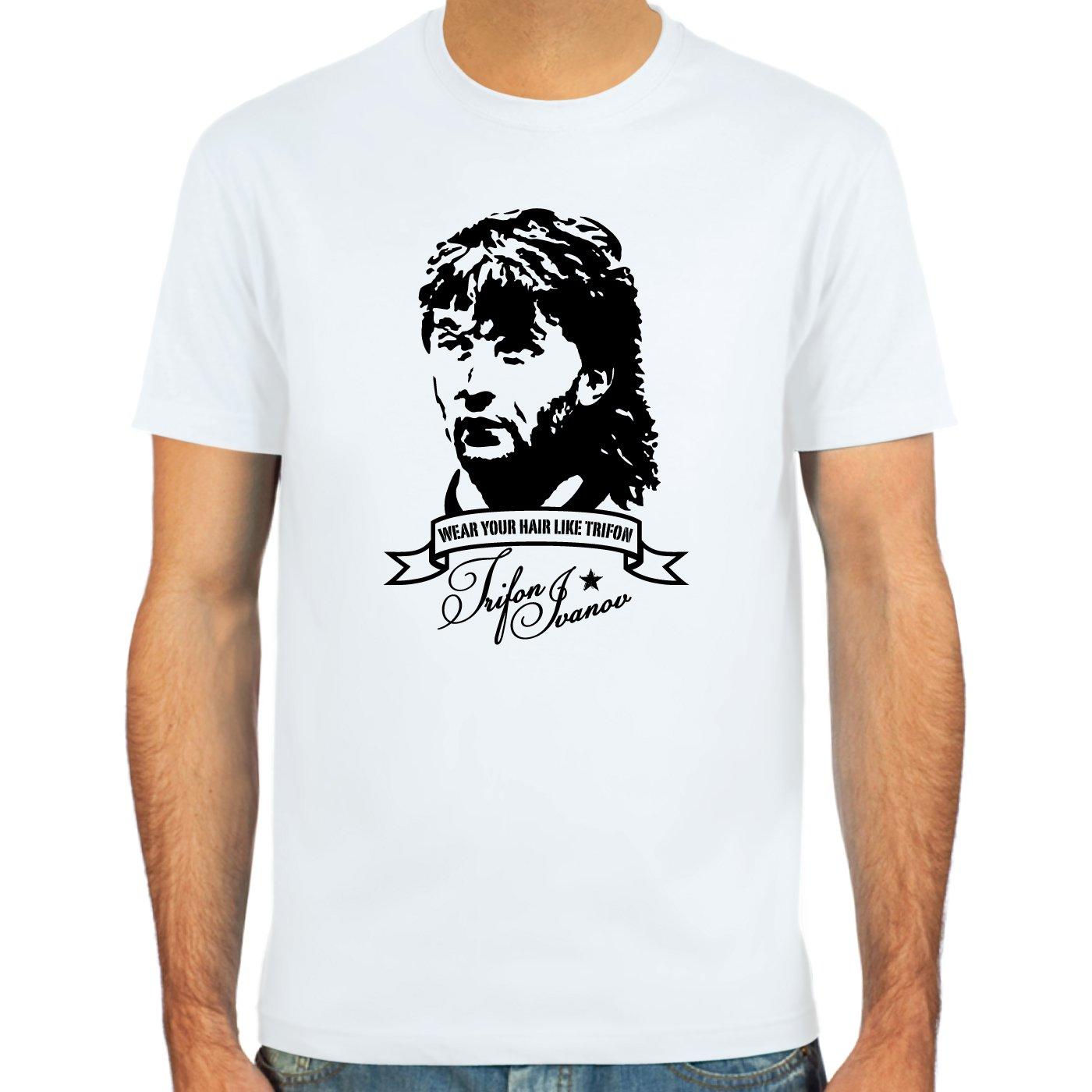 SpielRaum T-Shirt Trifon Vokuhila Ivanov wei/ß oder deepred : S-XXL : Farbauswahl : sand Fu/ßball-Kult Gr/ö/ßen skyblue