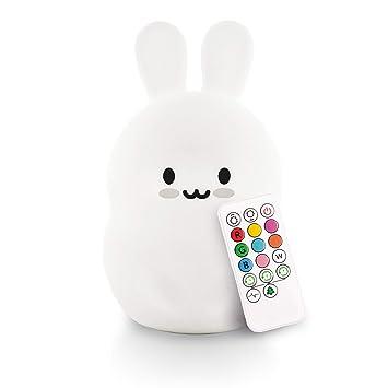 USB Recargable LED noche luz lámpara Lindo Silicona Cat 7 Color Cambio Cuarto de Niños