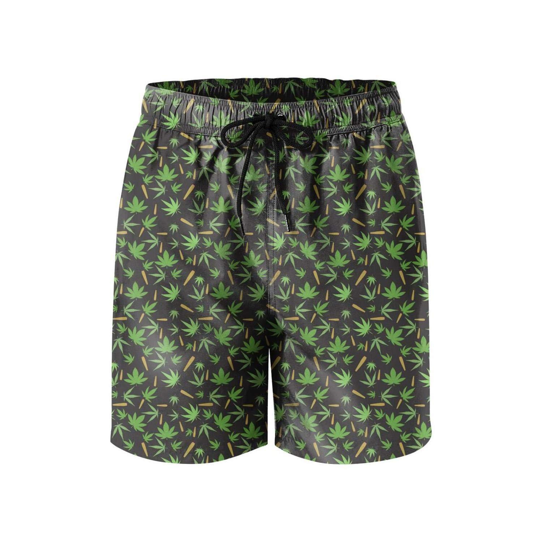 Microfiber Smoking Marijuana Green Quick Dry Swim Mens Shorts Slim Fit