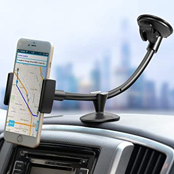 d99efa67b46b19 ipow Car Phone Holder, Dashboard Windshield 13 Inches Long Arm Universal Car  Mount Compatible with