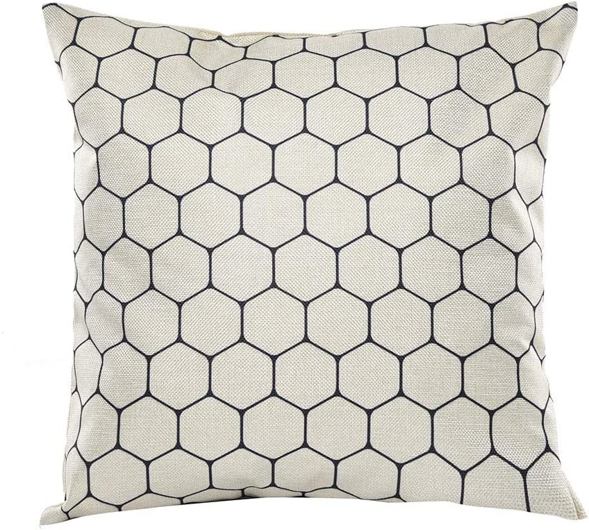 huijdew Pillow Case Cushion Covers 18x18inch Fashion Vintage Black And White Geometric Abstract Decorative Polyester Pillowcase