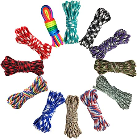Hileyu Parachute Cord 12 Colors 10 Feet Paracord Cord 550 Multifunction Type III Paracord Ropes 550lb Survival Paracord Random Combo Crafting Kit 7 Strand Cord Tent Rope Outdoor Survival Rope