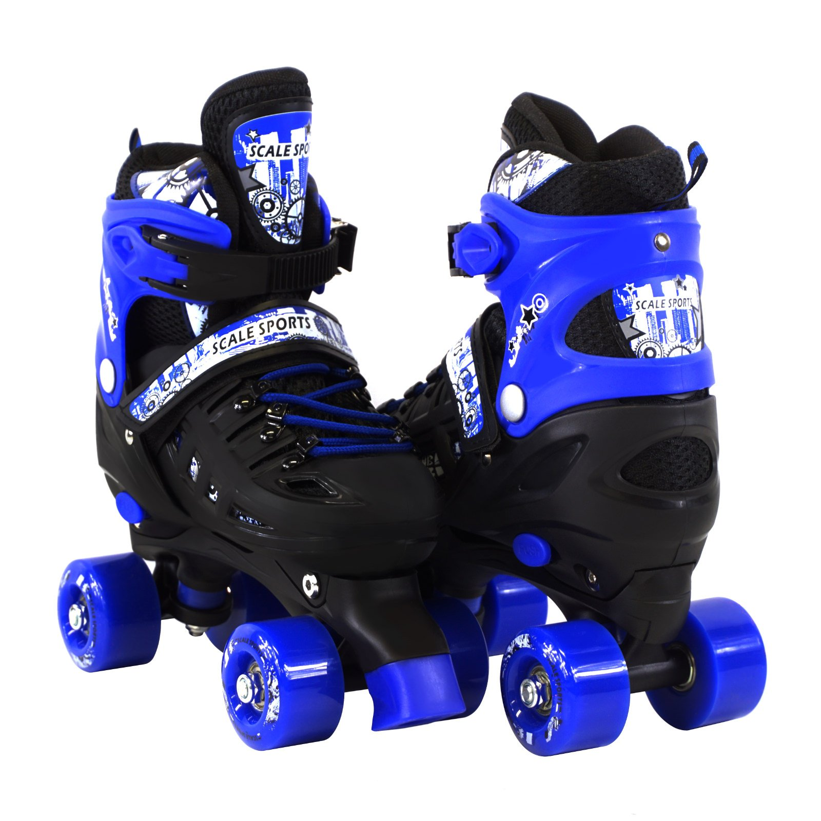 Scale Sports Adjustable Blue Quad Roller Skates For Kids Large Sizes