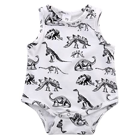 feiXIANG Ropa de bebé recién Nacido Niño Bebé Niño Niña Dinosaurio Estampado de Mono Habery Ropa