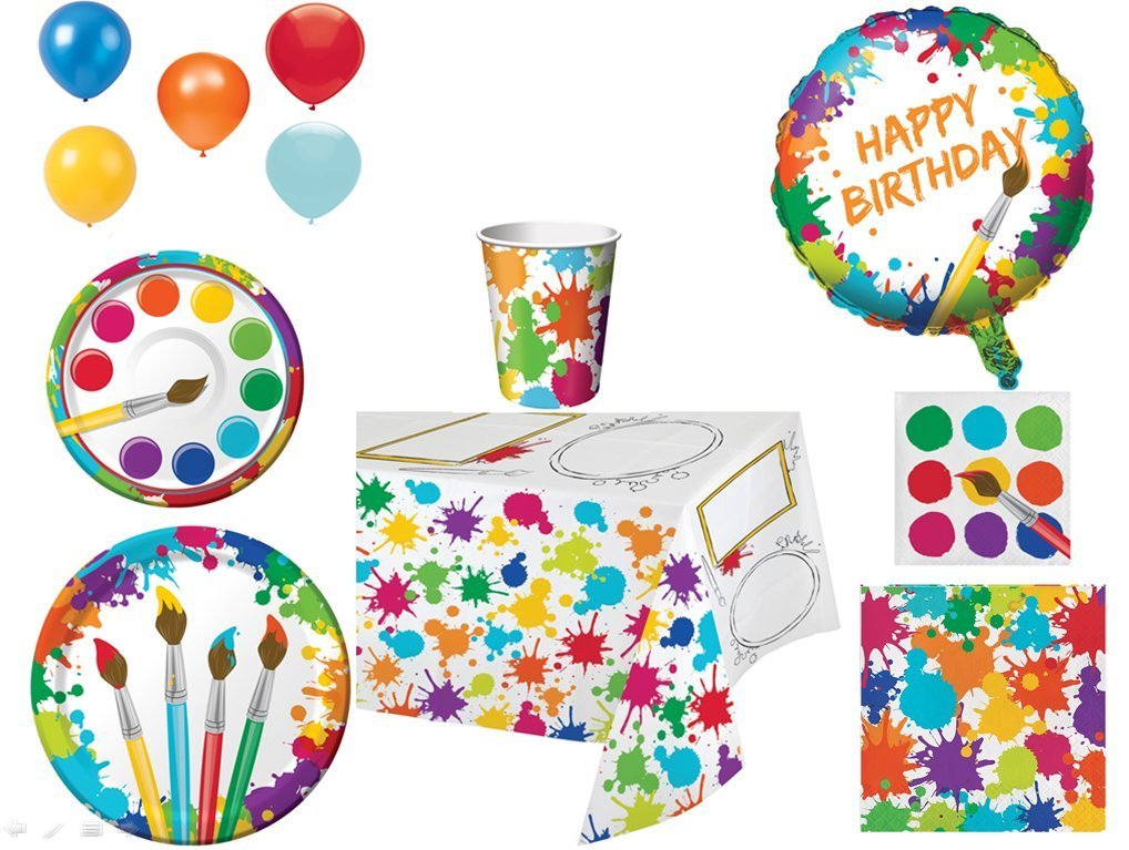 Disposable Plates, Napkins, Cups, Tablecloth, Balloons Art Party Themed Party Pack, 8-Piece Bundle.
