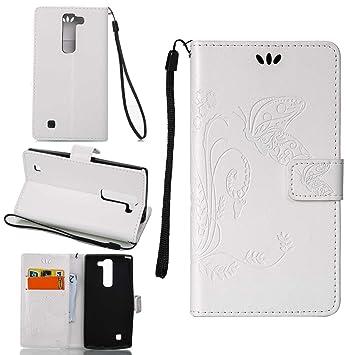 pinlu Funda para LG G4 Beat/LG G4S (5.2pulgada) Función de Plegado Flip Wallet Case Cover Carcasa Piel PU Billetera Soporte con Mariposa Grass Blanco