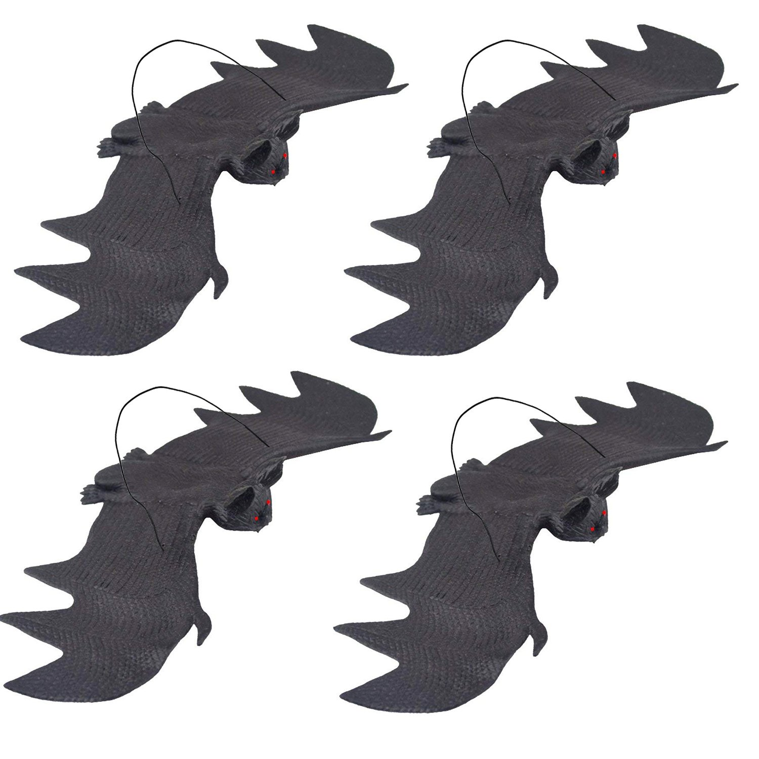 UCLEVER Halloween Hanging Bats Large Size Realistic Spooky Bat for Outdoors and Indoors Decoration, 4 Pack