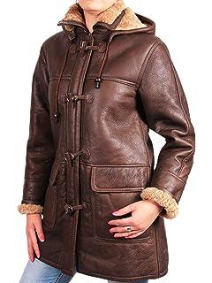 ab91196509 Brandslock Women Genuine Shearling Sheepskin Leather Duffel Coat Removeable  Hood…