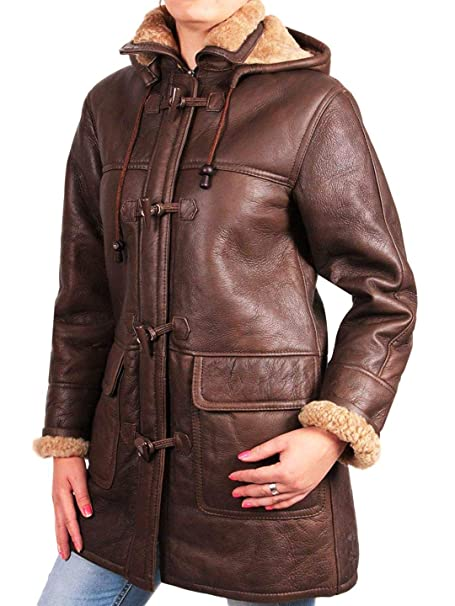 Brandslock mujeres abrigo tres cuartos de piel de oveja de cuero real (S/8