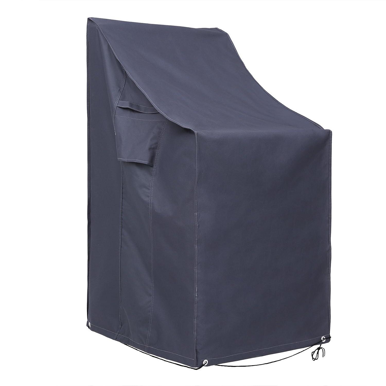 SONGMICS 600D Oxford Copertura per Sedie Impilate, Protezione Impermeabile Antivento e Anti-UV per Sedie da Giardino, GFC95G