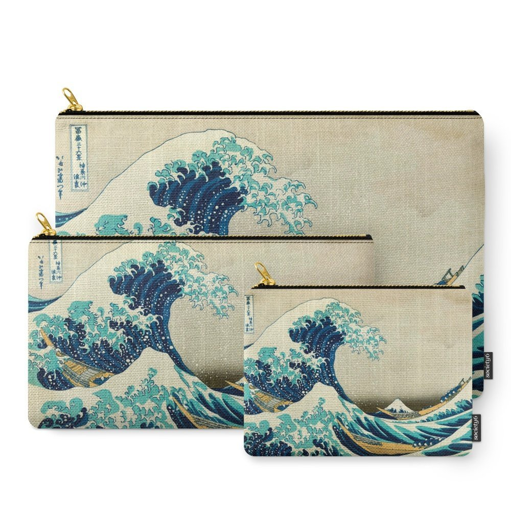 Society6 Great Wave Off Kanagawa. Japanese Vintage Fine Art. Carry-All Pouch Set of 3