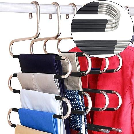 Amazon Com Doiown Ganchos De Acero Inoxidable Tipo S Para Ropa Y Pantalones Organizador Para Colgar Para Pantalones Pantalones De Mezclilla Bufandas Juego De 3 De14 17 X 14 96 Pulgadas Home Kitchen