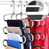 DOIOWN Pants Hangers 5 Pieces Non Slip Space Saving Hangers Stainless Steel Clothes Hangers Closet Organizer for Pants Jeans
