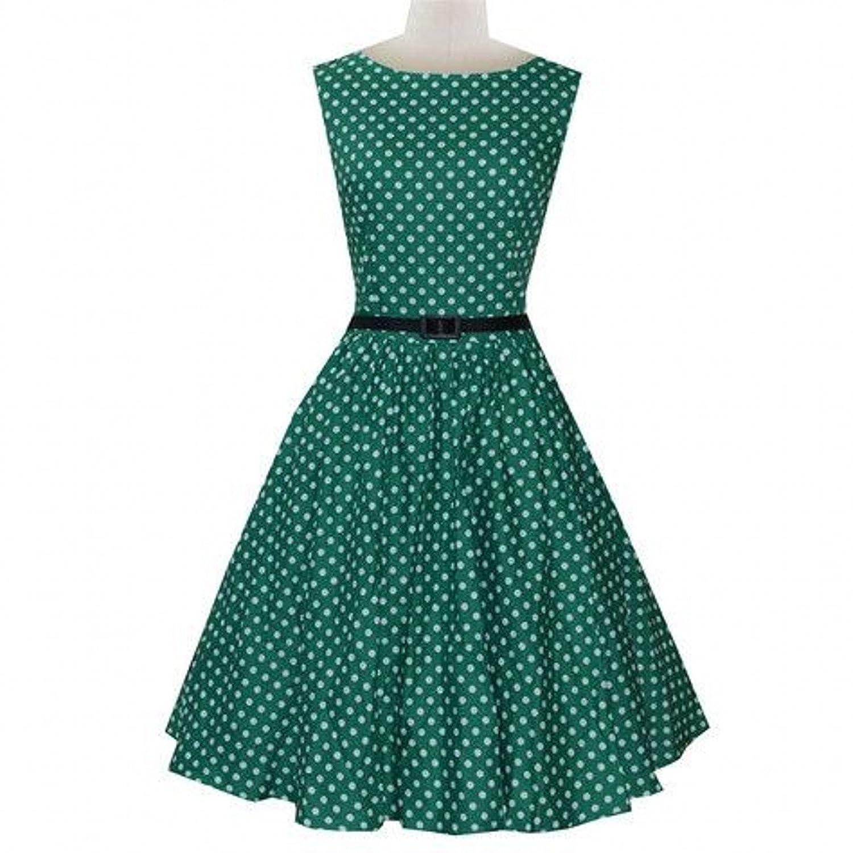 Babyonline® Damen Ärmellos Faltenrock Vintage Swing 50er 60er Jahre Cocktailkleid
