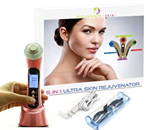 Rejuven Skin 5-in-1 Anti aging facial toning device combining Galvanic, LED Light therapy, Wave and Microvibration to reverse aging, tighten skin. reduce fine lines and wrinkles