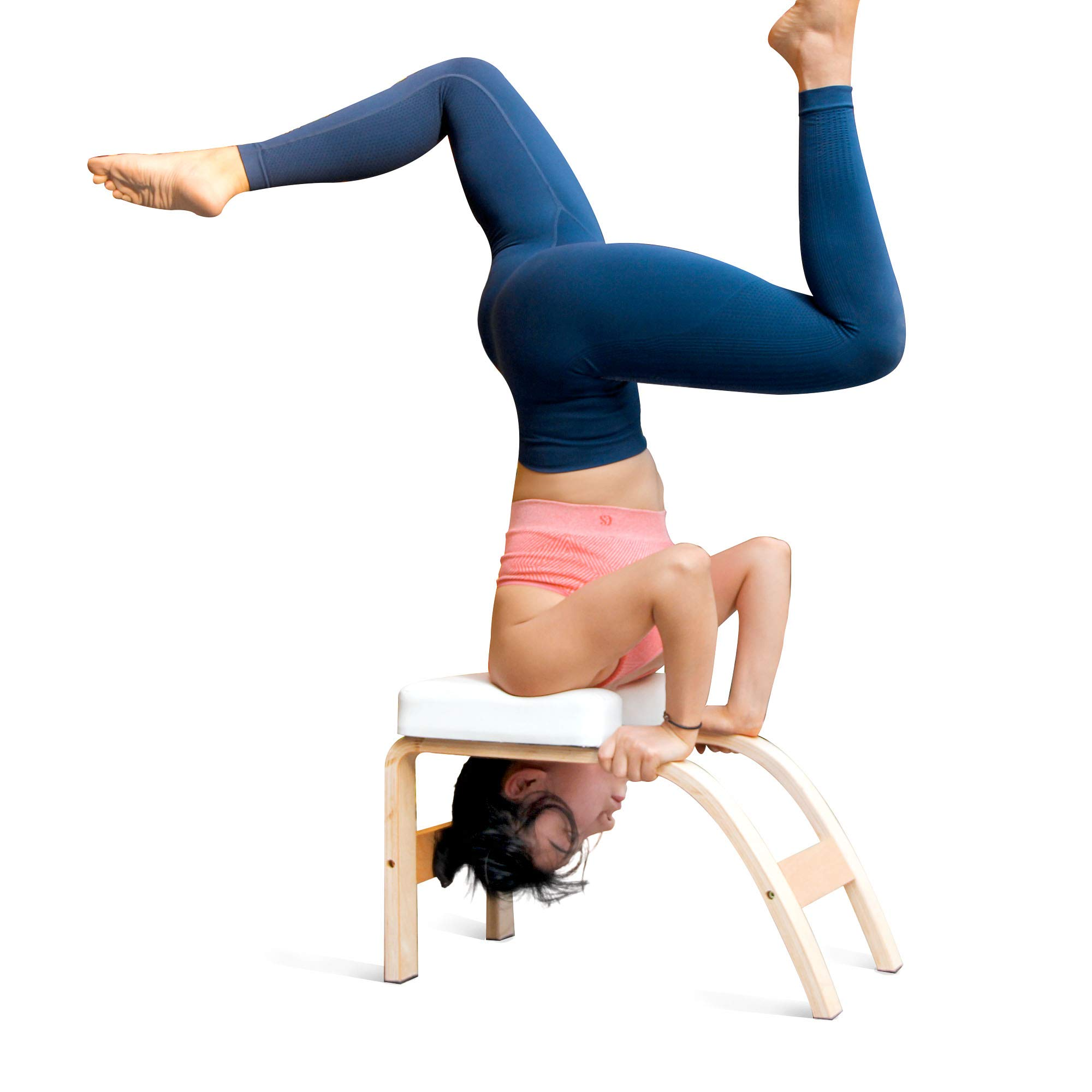 THUNDESK Yoga Inversion Bench,Yoga Headstand Prop,Upside Down Chair for Feet Up and Balance Training, Core Strength Building, Yoga Asana Practice Chair (White)