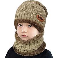 Tuopuda Conjunto de bufanda y gorro de punto para niños Forro polar de lana Beanie Hat Sombrero Cuello caliente Conjunto…