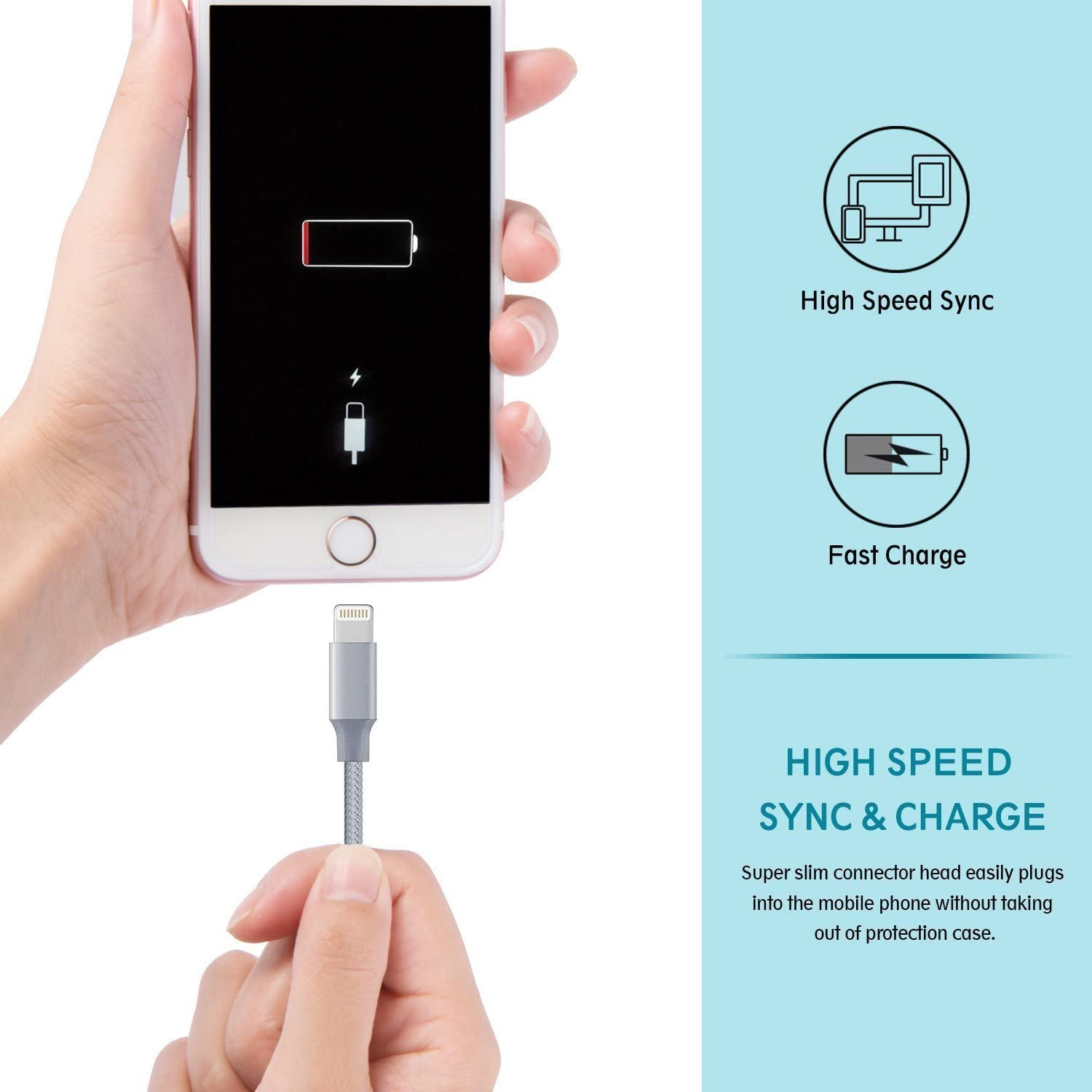 Gray USB Syncing and Charging Cable Data Nylon Braided Cord Charger Compatible PhoneX//8//8 Plus//7//7 Plus//6//6 Plus//6s//6s Plus and More 3FT 6FT 6FT 10FT Aitaton Phone Charger,4 Pack Phone Cable