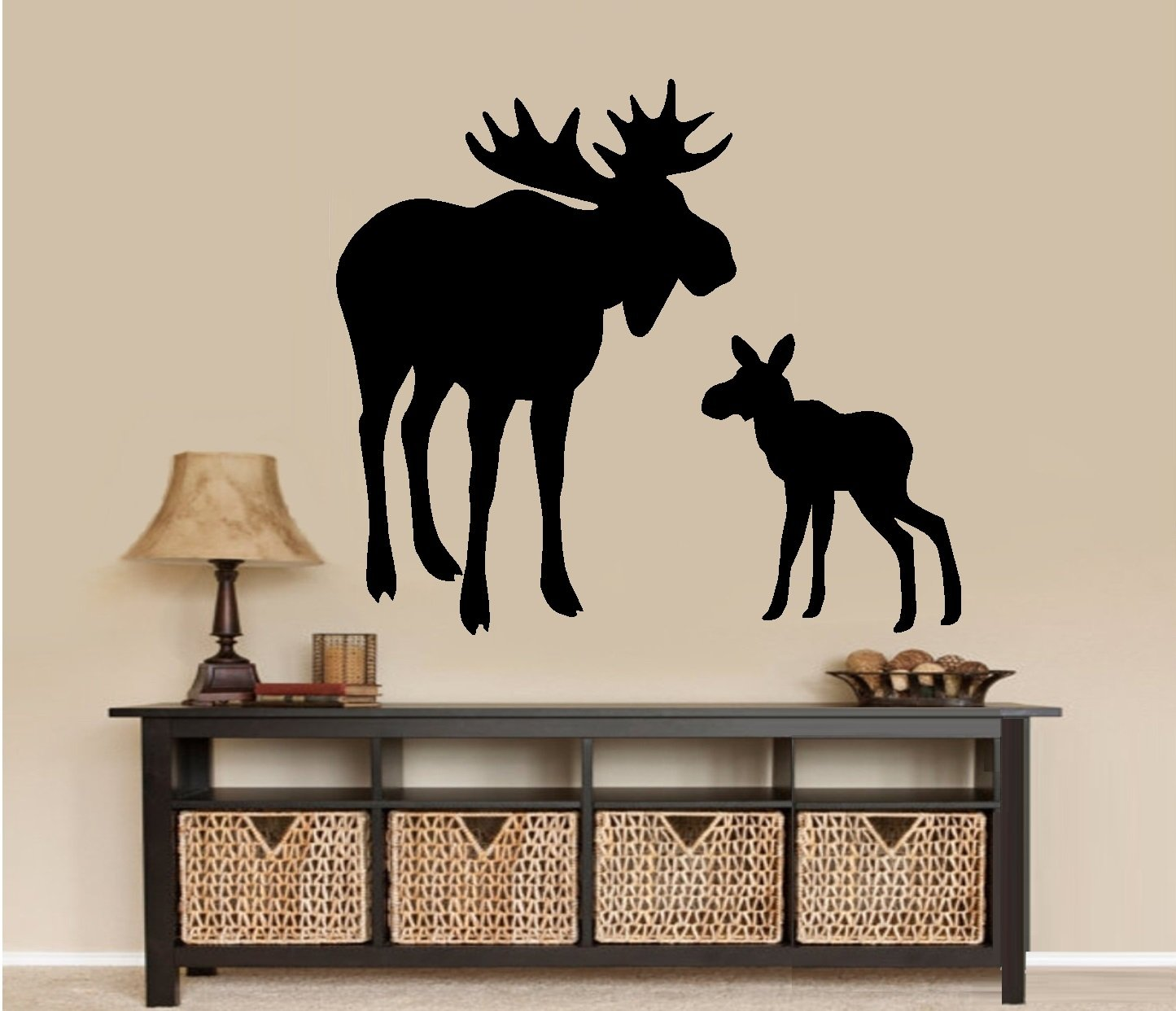 moose and baby calf wall decal home decor 22
