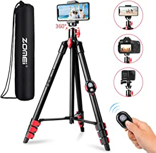 ZOMEI Phone Tripod, Tripod for iPhone Camera Portable Lightweight Aluminum Tripod Stand with Universal Cell Phone Holder Carry Bag Remote Shutter for Phone, Camera, Laser Measure, Laser Level
