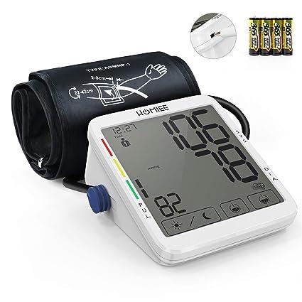HOMIEE Tensiometro de brazo con pantalla táctil de 5,5 pulgadas, detección de arritmias del corazón, brazalete compatible con diámetros de brazo ...
