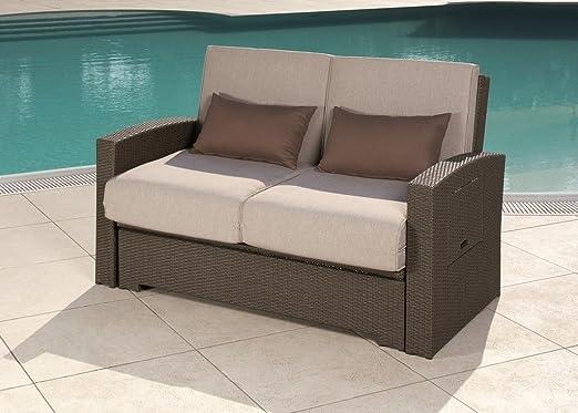 Minas - Sofá de jardín convertible en cama, de exterior, de ratán: Amazon.es: Jardín