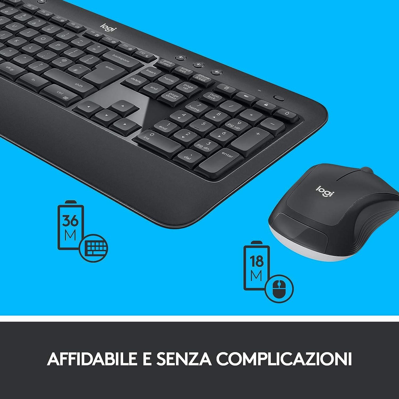 Logitech MK540 - Combinación de Teclado y ratón inalámbricos, Larga duración de Pilas - QWERTY (Italian distribución) Negro: Amazon.es: Informática